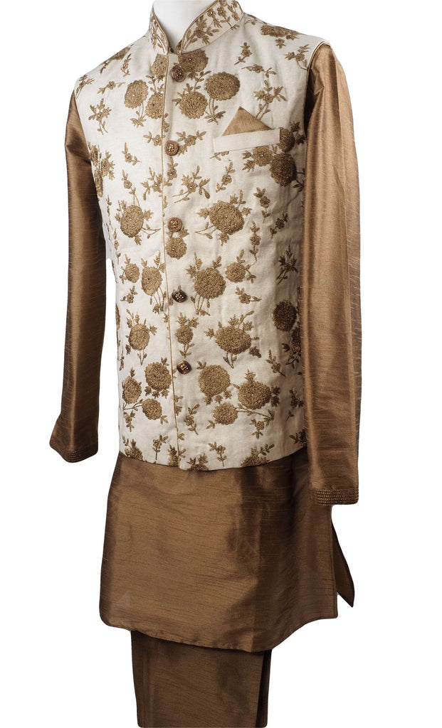 Gold Raw silk Kurta set with Jute Embroidered waistcoat - Bollywood, Weddings, Fancy Dress - SNC597CP