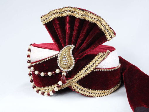 Rich Maharaja Maroon/Cream Turban for Bollywood Party , Weddings PC633 - Prachy Creations