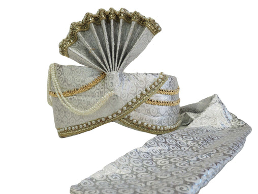 Prachy Creations : Groom / Party Silver Turban for Bollywood, Fancy dress, Weddings - PC634  08KV17