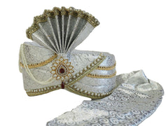 Groom / Party Silver Turban for Bollywood, Fancy dress, Weddings - PC634  08KV17 - Prachy Creations