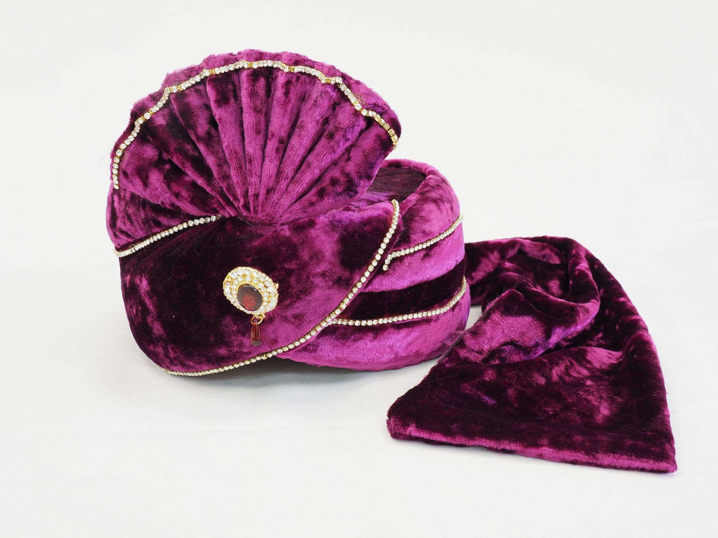 Well made Purple Velvet Turban 05C17 -  Bollywood Party, Weddings Fancy Dress PC635PUR - Prachy Creations
