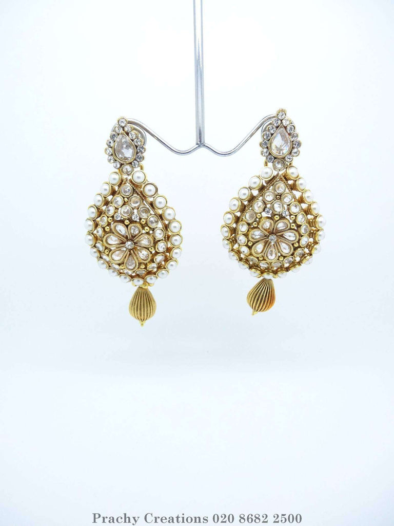 Gold finish Indian pearl earrings - PRI 327- For weddings and bollywood parties J 0316 - Prachy Creations