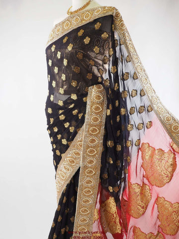 Black saree with gold border - PTC 738 - rk, Bollywood, weddings - Prachy Creations