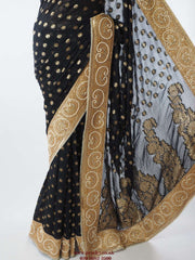 Prachy Creations : Black saree with gold border - PTC 738 - rk, Bollywood, weddings, Black