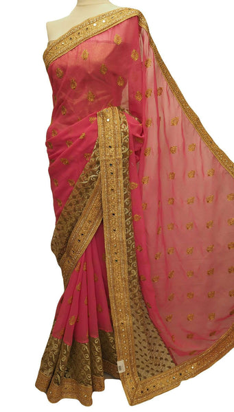 Prachy Creations : FancyParty wear Saree - Pink with gold embroidery - Bollywood - PTC 878 - tv 0516, Pink