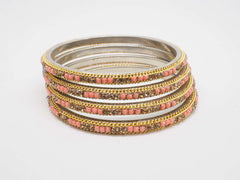 Prachy Creations : Disha Laakh Bangles - 15 colours- Handmade stone bangles (set of 4) Bollywood, Weddings, Party - 04VT18, 2.4 (Sm) / Peach