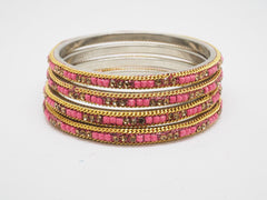 Prachy Creations : Disha Laakh Bangles - 15 colours- Handmade stone bangles (set of 4) Bollywood, Weddings, Party - 04VT18, 2.4 (Sm) / Pink