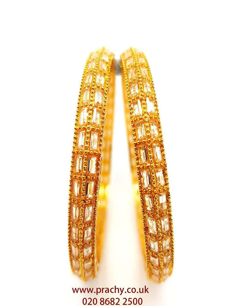 Prachy Creations : RA102 r 0217 - Pair of long stone Bangles