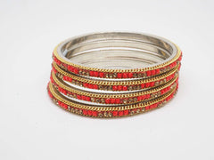 Prachy Creations : Disha Laakh Bangles - 15 colours- Handmade stone bangles (set of 4) Bollywood, Weddings, Party - 04VT18, 2.4 (Sm) / Red