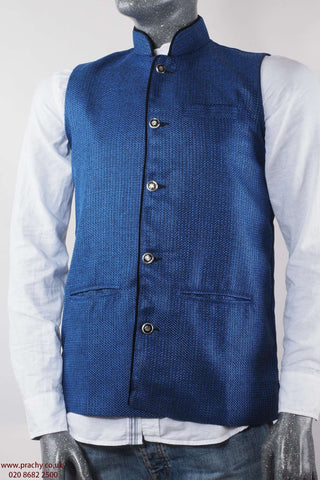 Captiva - Royal Blue Jute cotton Mens waistcoat Bollywood 04KP17
