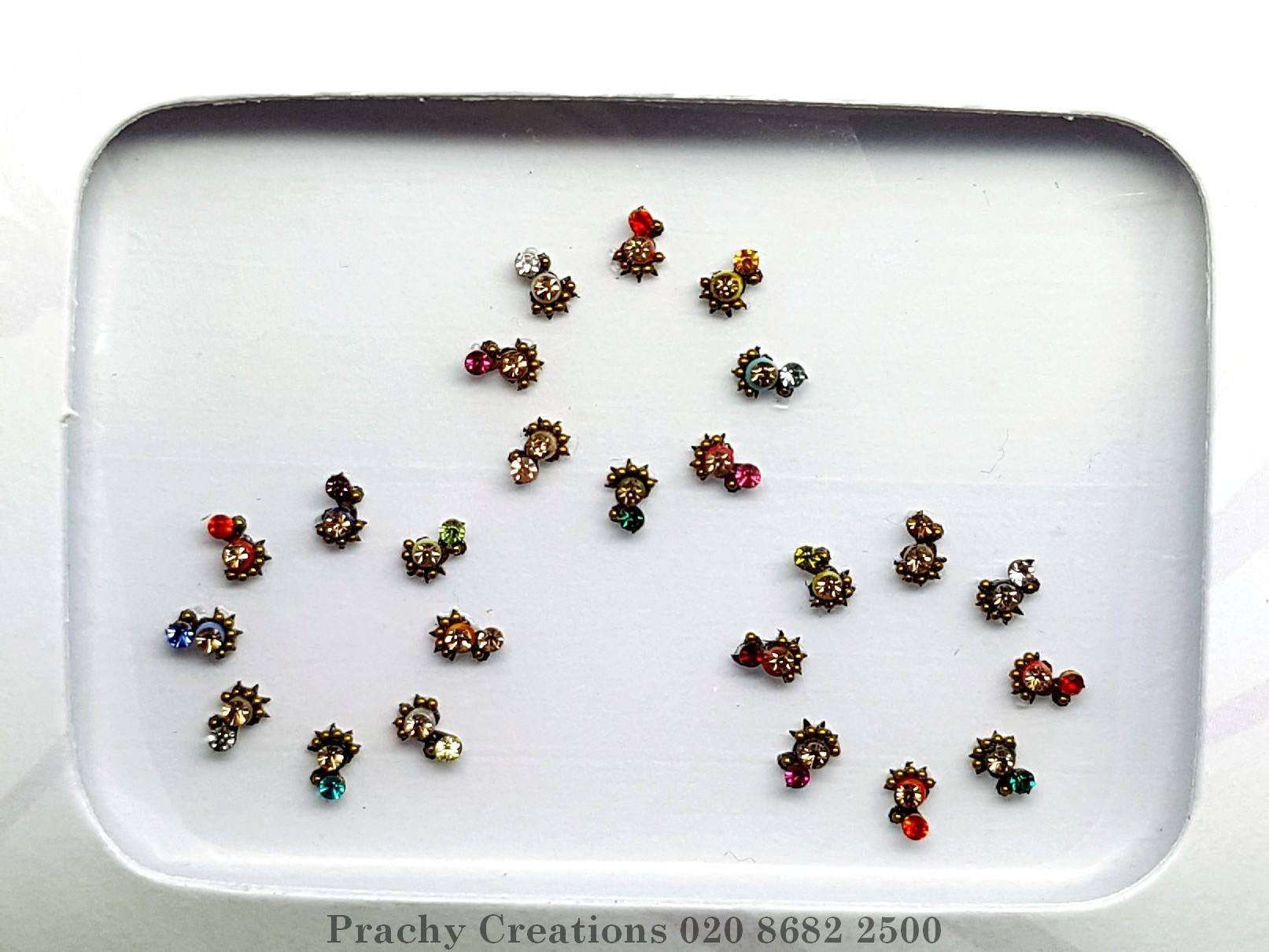 Pack of 24 Tiny Bindis in various colours - 24 hrs dispatch - RR1062 kvp - Prachy Creations