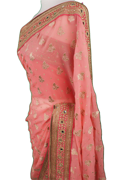 Prachy Creations : SEP5716 04CP17 - Coral saree with contrast border , Bollywood, Weddings