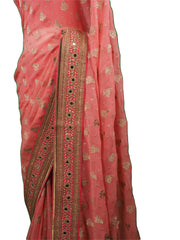 SEP5716 04CP17 - Coral saree with contrast border , Bollywood, Weddings - Prachy Creations