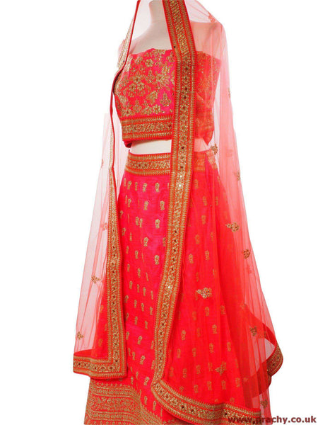 Prachy Creations : SEP5744 04KVT17 - Coral Bridal Semi Stitched Ladies Lehnga suit, Skirt, Coral