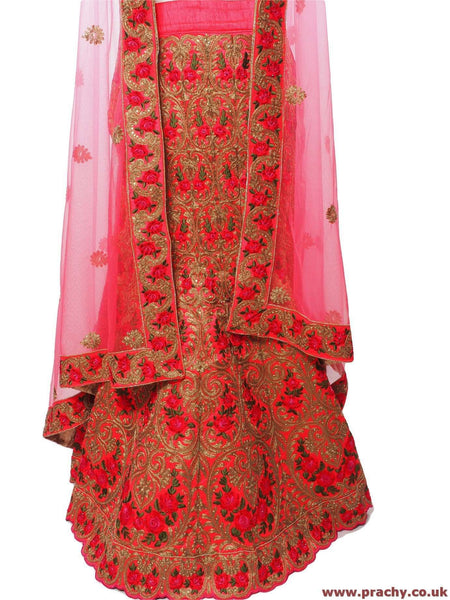 SEP5745 04KTT17 - Dark Pink Bridal Semi Stitched Ladies Lehnga suit, Skirt