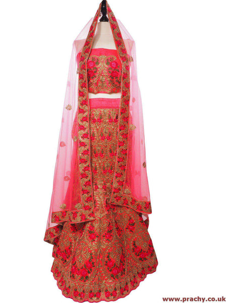 Prachy Creations : SEP5745 04KTT17 - Dark Pink Bridal Semi Stitched Ladies Lehnga suit, Skirt