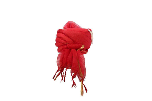 SGT 011 A classic Red Turban with paisley broach, Maharaja, Bollywood, Fancy dress - Prachy Creations