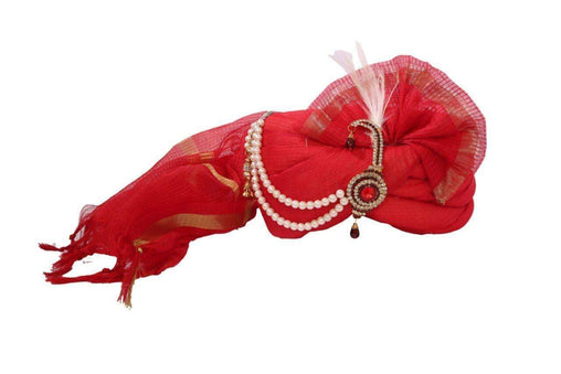 A Classic Red Turban with paisley broach, Maharaja, Bollywood, Fancy dress SGT 011 - Prachy Creations