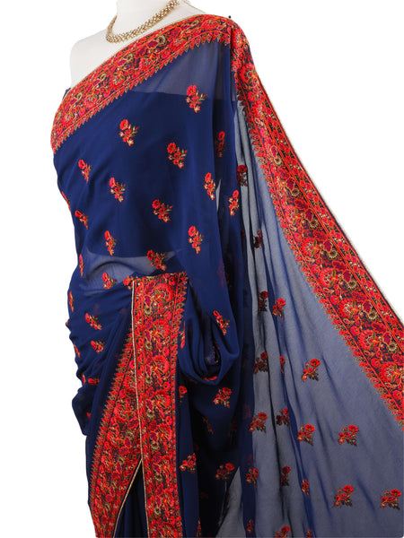 Prachy Creations : SHA4910 04JA17 - Navy saree with blouse piece