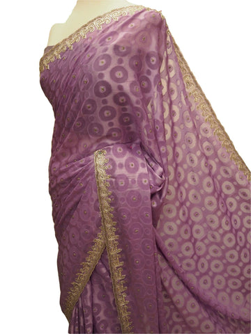 Clearance - Bargain - Simple saree with silver embroidery - Lilac - SL1802JC 0612