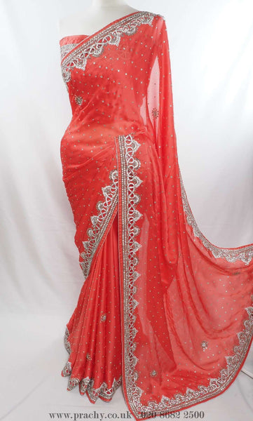 Diamonte cut work border party saree - Bollywood , Wedding - SM 01 ck 0415 - Prachy Creations