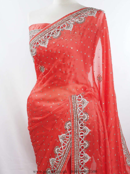 Prachy Creations : Diamonte cut work border party saree - Bollywood , Wedding - SM 01 ck 0415