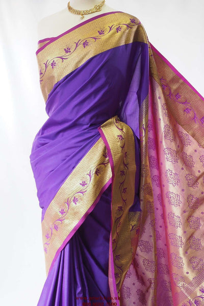 Benarasi saree  - Purple  - Damaged - SM 24  tr 0416 - Prachy Creations