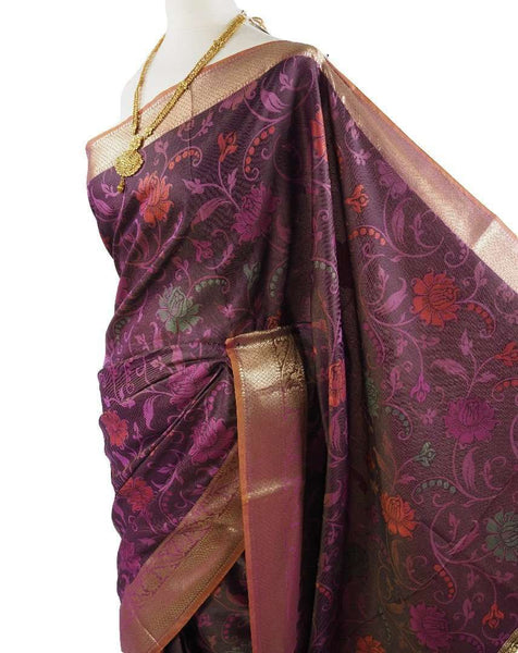 Prachy Creations : Benarasi Handloom Silky saree - with Blouse Piece - SN1905 VY0419, Pink / Silky / Thread