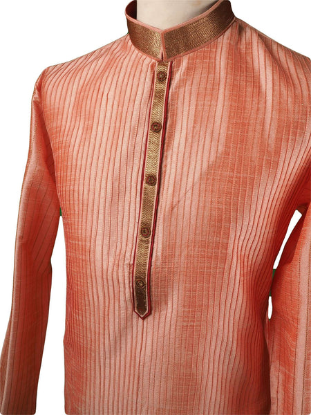 Prachy Creations : Pin tucks Pink Mens Kurta set - Bollywood, Weddings, Fancy Dress - SNC5812VA-PNK
