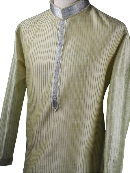 Prachy Creations : Pin tucks Pista Green Mens Kurta set - Bollywood, Weddings, Fancy Dress - SNC5812VA-PST