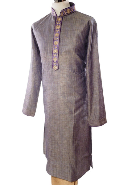 Grey Kurta with purple neck embroidery - Bollywood, Weddings, Fancy Dress - SNC5814TJ