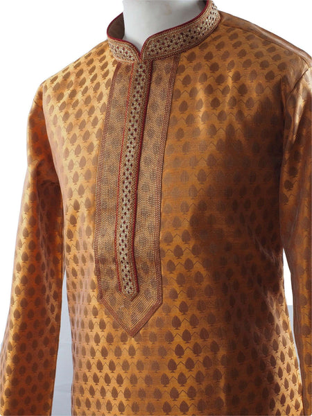 Prachy Creations : Golden Mens Handloom Kurta set - Bollywood, Weddings, Fancy Dress - SNC5820JY-GLDN
