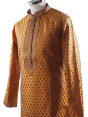 Golden Mens Handloom Kurta set - Bollywood, Weddings, Fancy Dress - SNC5820JY-GLDN - Prachy Creations