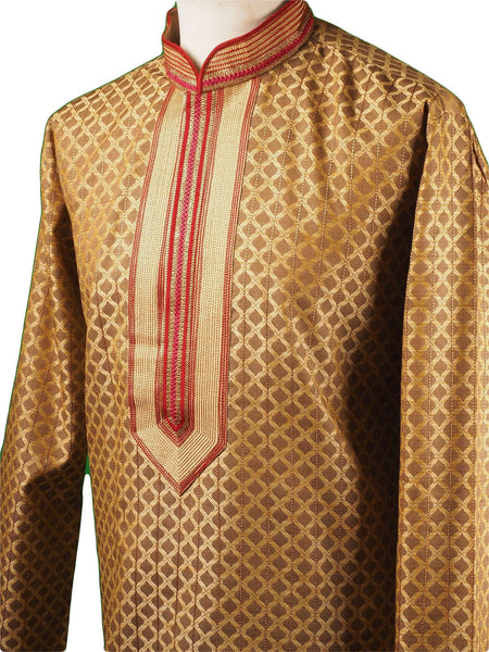Prachy Creations : Gold Mens Handloom Kurta set - Bollywood, Weddings, Fancy Dress - SNC5822JY-GOL