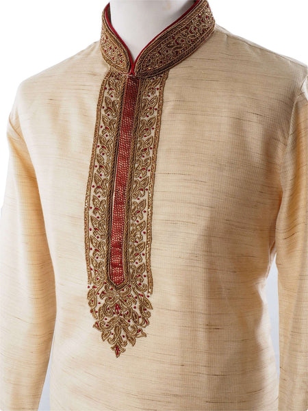 Prachy Creations : Mens Cream Kurta set with hand embroidery - Bollywood, Weddings, Fancy Dress - SNC5838PJ