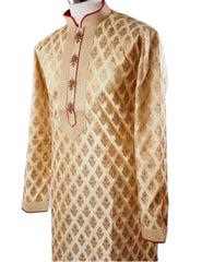 Prachy Creations : Mens Light Gold Kurta set with hand embroidery - Bollywood, Weddings, Fancy Dress - SNC5842JJ