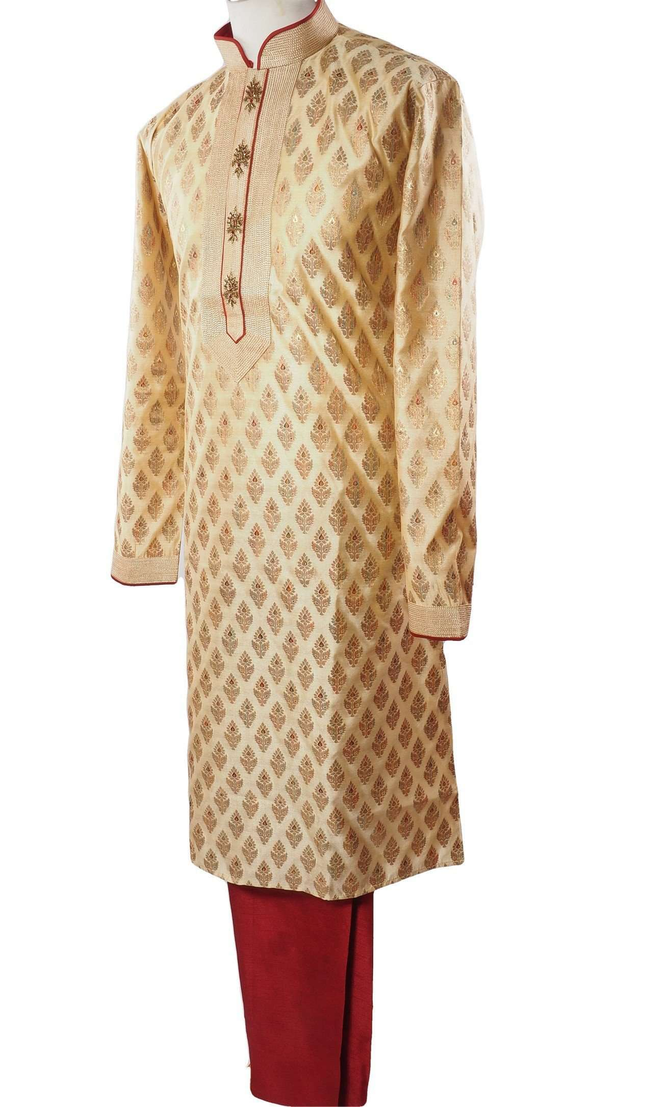 Mens Light Gold Kurta set with hand embroidery - Bollywood, Weddings, Fancy Dress - SNC5842JJ - Prachy Creations