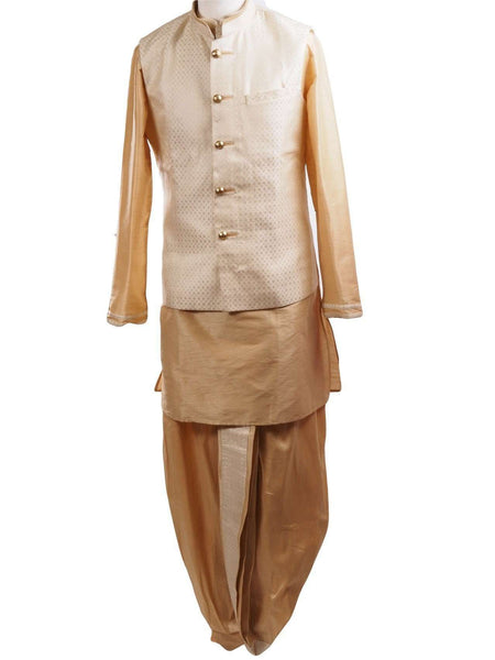 Prachy Creations : Gold Raw silk Kurta Dhoti set with Cream Brocade waistcoat - Bollywood, Weddings, Fancy Dress - SNC595PT