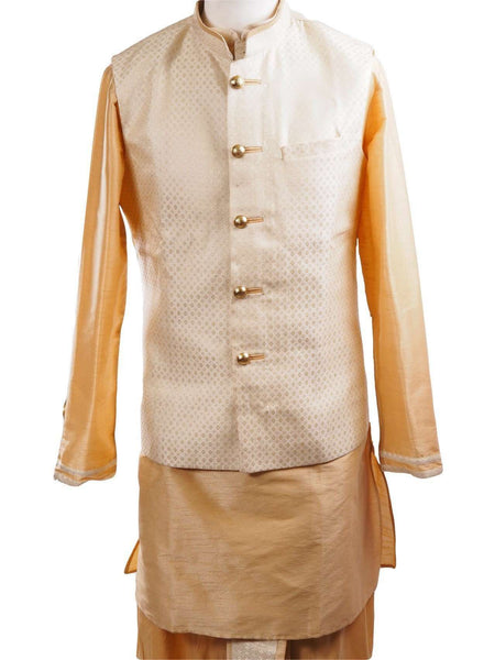 Gold Raw silk Kurta Dhoti set with Cream Brocade waistcoat - Bollywood, Weddings, Fancy Dress - SNC595PT