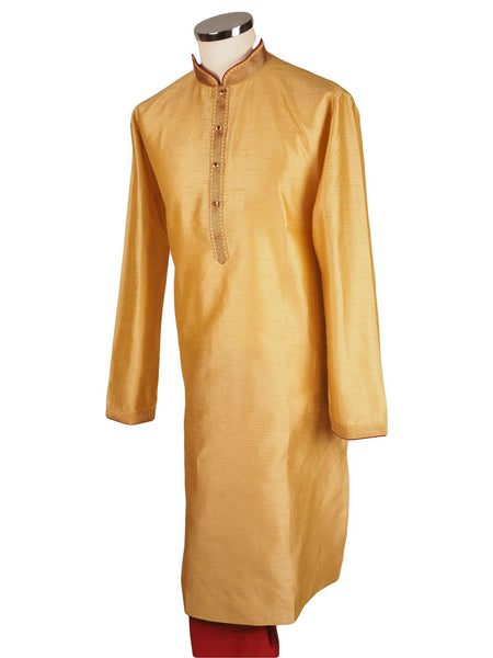 "Prachy Creations : Bollywood Mens Kurta set - Gold Cream - Bollywood, Weddings, Fancy Dress - SNC8612 1018, 38"" / Gold"