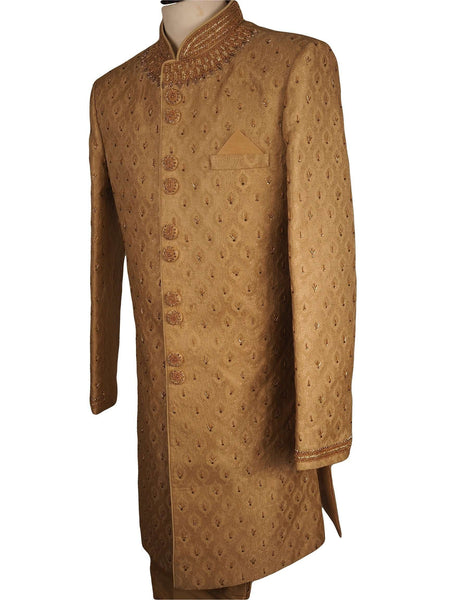 "Prachy Creations : Fully Embroidered Gold Sherwani with churidar trousers -  SNC861KKP 1018, 38"" / Gold"