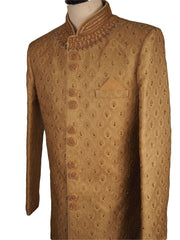 Fully Embroidered Gold Sherwani with churidar trousers -  SNC861KKP 1018 - Prachy Creations
