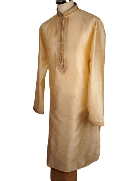"Prachy Creations : Prachy Creations - Mens Kurta set - Cream - Bollywood, Weddings, Fancy Dress - SNC8628VT 1018, 38"" / Cream"