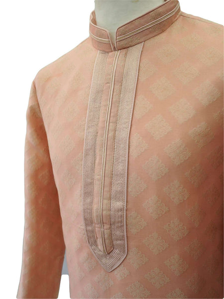 "Prachy Creations : Prachy Creations - Benarasi Handloom Mens Kurta set - Pink - Bollywood, Weddings, Fancy Dress - SNC8633TR 1018, 38"" / Pink"