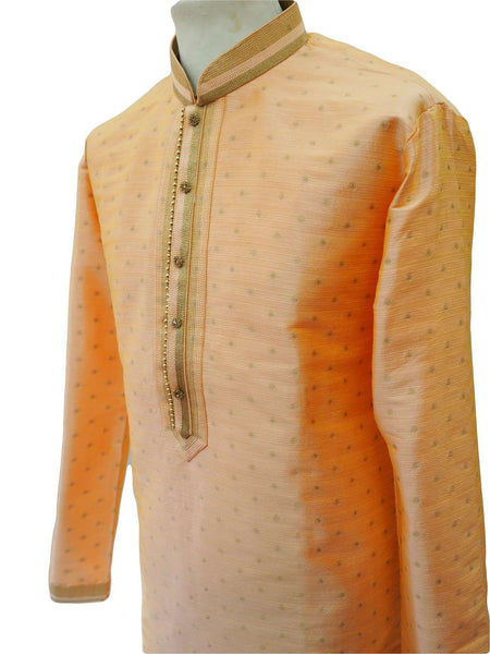"Prachy Creations : Prachy  Creations - Benarasi Handloom Mens Kurta set - Peach - Bollywood, Weddings, Fancy Dress - SNC8635TY 1018, 48"" / Peach"