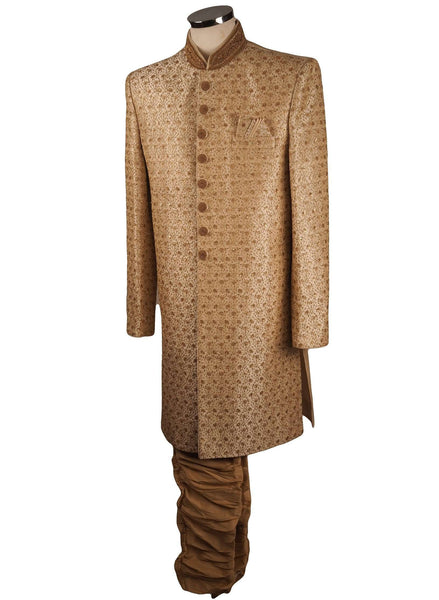 Fully Embroidered Cream Sherwani with churidar trousers -  SNC863HC 1018 - Prachy Creations