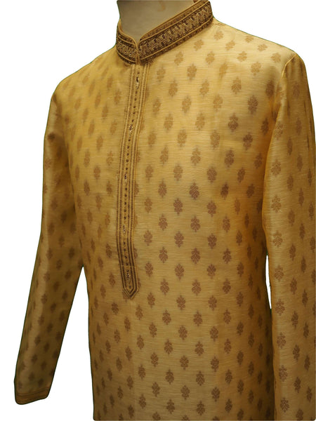 "Prachy Creations : Benarasi Brocade Mens Kurta set - Cream Gold - Bollywood, Weddings - SNC8665PV 1018, 38"" / Gold"