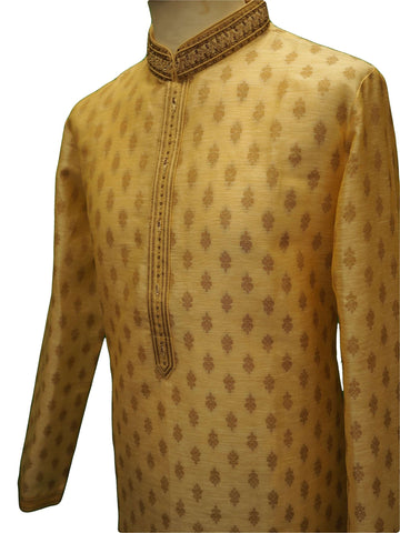 Benarasi Brocade Mens Kurta set - Cream Gold - Bollywood, Weddings - SNC8665PV 1018