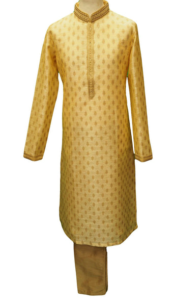 Prachy Creations : Benarasi Brocade Mens Kurta set - Cream Gold - Bollywood, Weddings - SNC8665PV 1018
