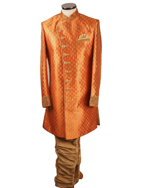 Prachy Creations : Orange Brocade Sherwani with churidar trousers -  SNC868CY 1018